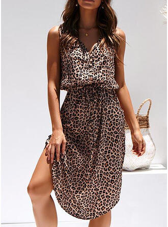Leopard Sleeveless Sheath Knee Length Casual/Vacation Dresses