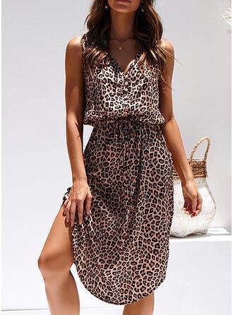 Leopardo Sem mangas Bainha Comprimento do joelho Casual/Férias Vestidos