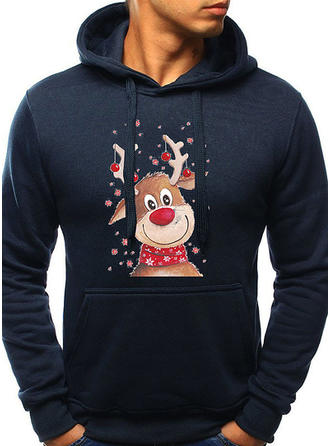 Men's Cotton Print Deer Christmas Sweatshirt