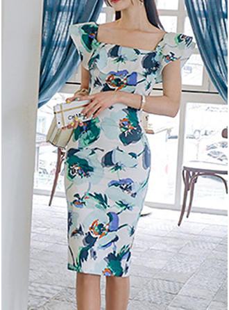 Print/Floral Short Sleeves Sheath Knee Length Casual/Elegant Dresses