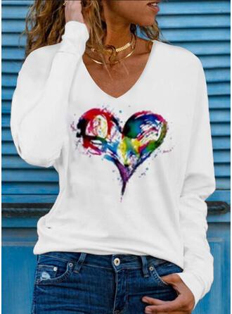 Coração Estampado Decote em V Manga Comprida Camisetas