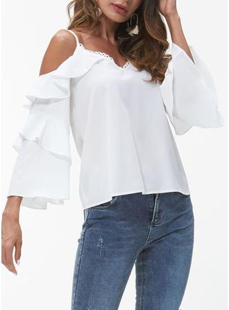 Polyester Spaghetti Strap Plain Butterfly Sleeve Shirt Blouses