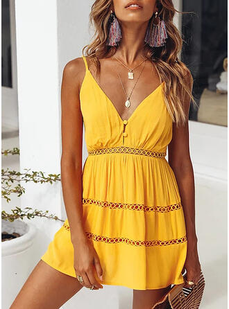 Solid Sleeveless A-line Above Knee Sexy/Casual/Vacation Dresses