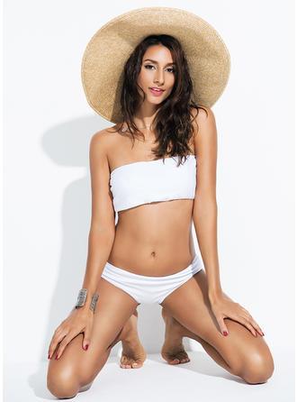 Seksowny Jednolity kolor Bez ramiączek Bikinis Kostium kąpielowy