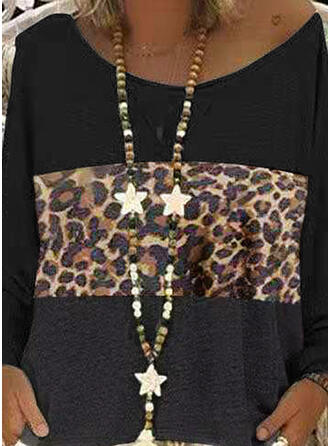 Animal Print One-Shoulder Long Sleeves Casual Knit Blouses