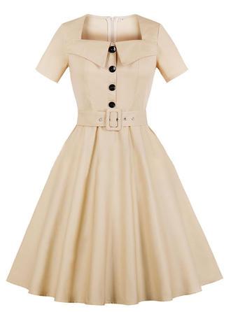 Solid Square Neck A-line Dress