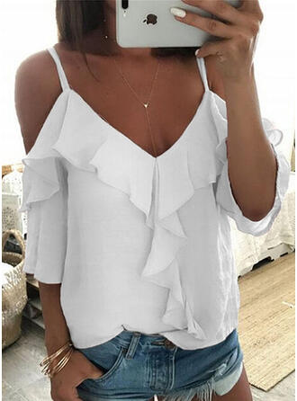 Solide Cold Shoulder 1/2 Mouwen Casual Blouses