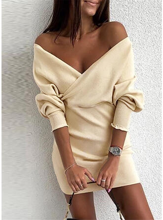 Solid Off the Shoulder Sweater Dress