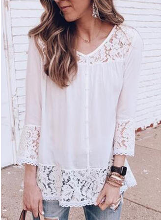 Solid Lace V neck 3/4 Sleeves Button Up Casual Sexy Blouses