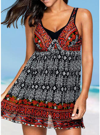 Print Strap V-Neck Vintage Swimdresses Swimsuits