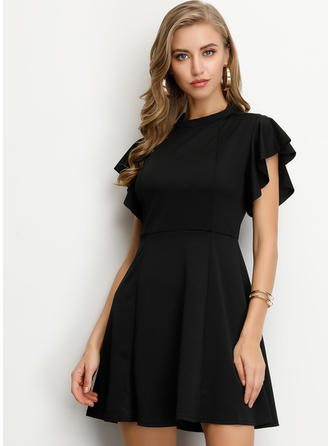 Solid Short Sleeves A-line Above Knee Little Black/Casual/Elegant Dresses