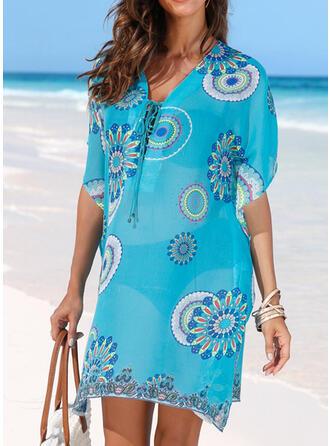 Blumen V-Ausschnitt Attraktiv Lässige Kleidung Strandmode Bademode