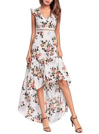 Print Bohemian Floral V-neck Asymmetrical A-line Dress