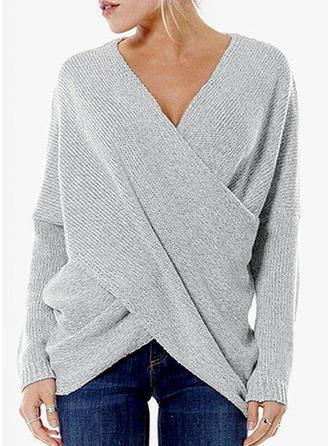 Bawełna V-neck Jednolity kolor Swetry