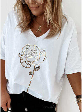 Blumen Druck V-Ausschnitt 1/2 Ärmel T-Shirts