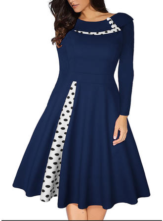 Solid PolkaDot Round Neck Knee Length A-line Dress