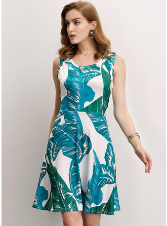 Print Sleeveless A-line Above Knee Casual/Elegant Dresses