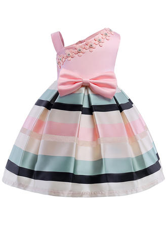 Girls One Shoulder Print Striped Bow Cute Party Dress