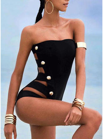 Solid Color Bandeau Strapless Sexy One-piece Swimsuits