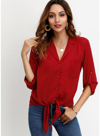 Solid Lapel 3/4 Sleeves Button Up Casual Blouses