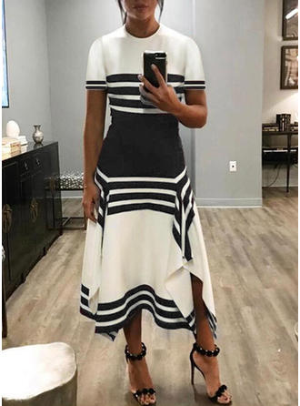 Color block/Striped Short Sleeves A-line Maxi Casual/Elegant Dresses