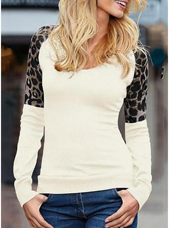Animal Print Patchwork Round Neck Long Sleeves Casual Knit T-shirt
