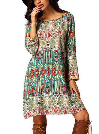 Print Bohemian Round Neck Above Knee Shift Dress