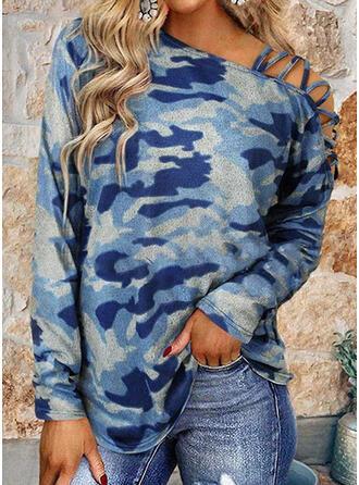 Camouflage One-shoulder Lange Mouwen T-shirts