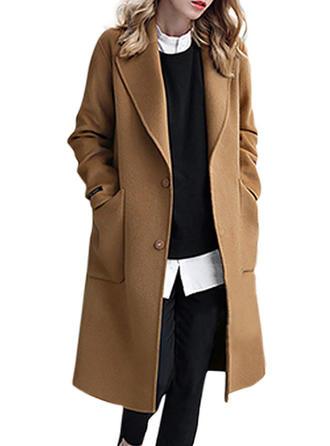 Wełniany Długie rękawy Jednolity kolor Szerokie Płaszcze