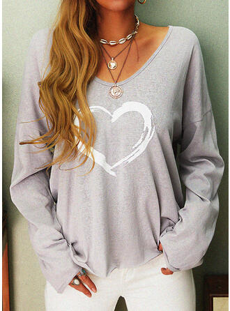 Print Heart V-Neck Long Sleeves Casual Knit T-shirts