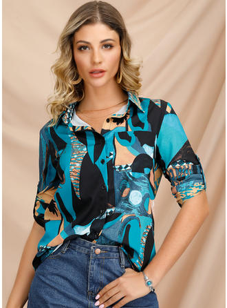 Print Lapel Long Sleeves Blouses