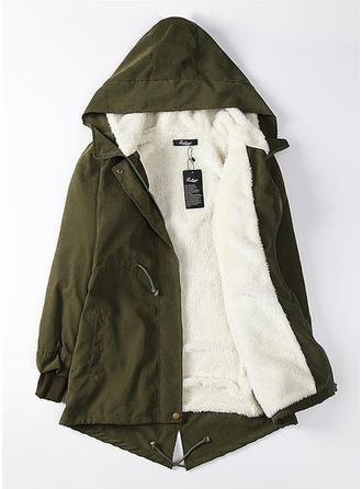 Cotton Blends Long Sleeves Plain Shearling Coats