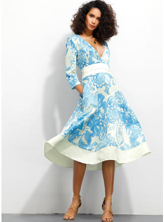 Print 3/4 Sleeves A-line Midi Casual/Vacation Dresses