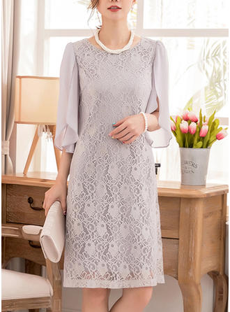 Lace Round Neck Knee Length Shift Dress