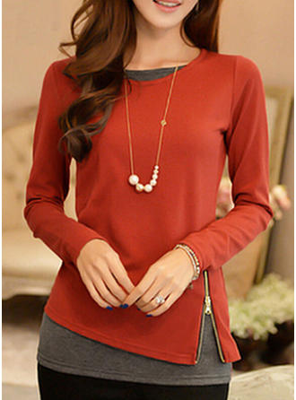 Polyester Round Neck Patchwork Long Sleeves Shirt Blouses