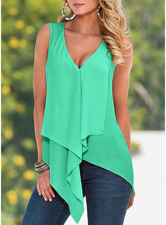 Solid V Neck Sleeveless Casual Elegant Tank Tops