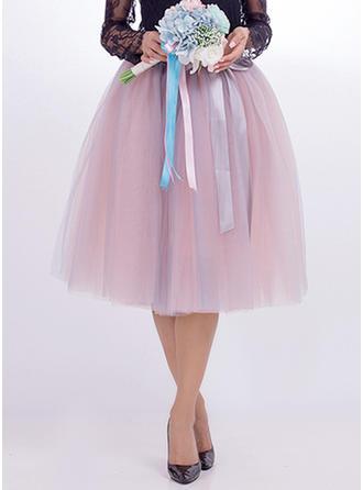 Nylon Plain Knee Length A-Line Skirts