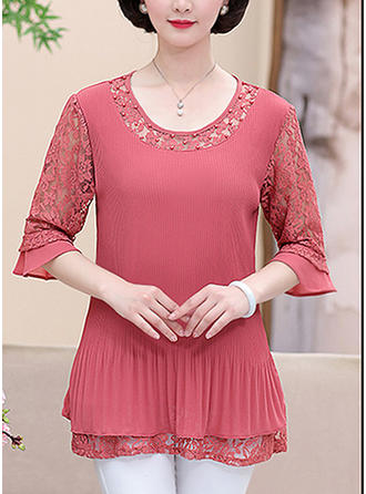 Chiffon Round Neck Lace 1/2 Sleeves Casual Blouses