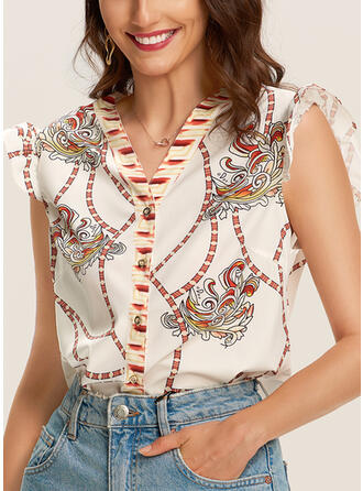 Print V-Neck Cap Sleeve Button Up Casual Blouses (1003290834)