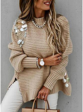Einfarbig Pailletten Stehkragen Freizeit Pullover