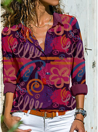 Print Lapel Long Sleeves Button Up Casual Knit Shirt Blouses