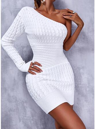 固体 長袖 ボディコンドレス 膝上 カジュアル ドレス