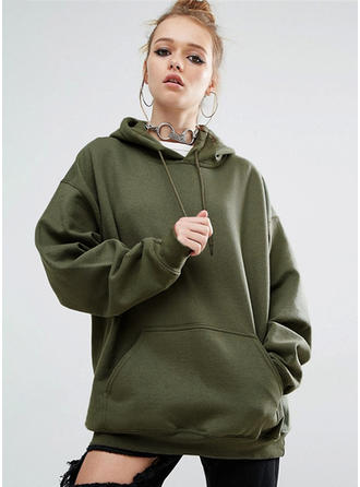 Cotton Blends Plain Hoodie