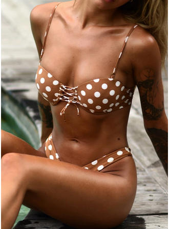Dot Knotted Strapless Eye-catching Casual Bikinis Swimsuits