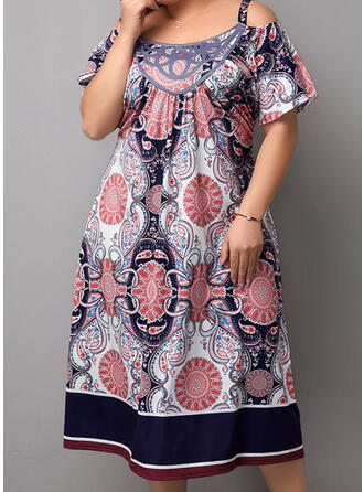Plus Size Print Cold Shoulder Sleeve Short Sleeves A-line Midi Boho Casual Vacation Dress