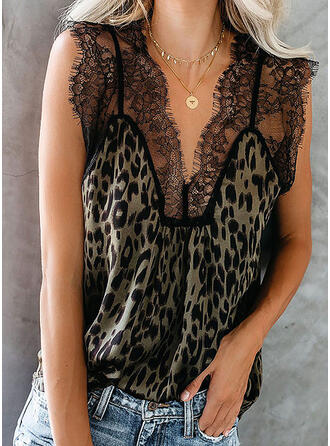 Animal Print Lace V-Neck Sleeveless Casual Tank Tops