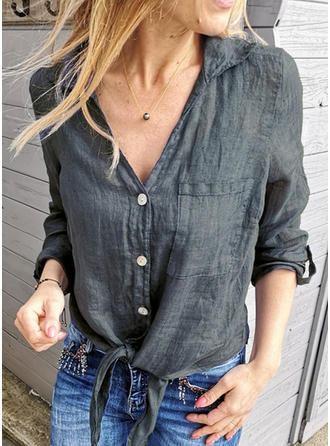 Solid V-neck Long Sleeves Button Up Shirt Blouses