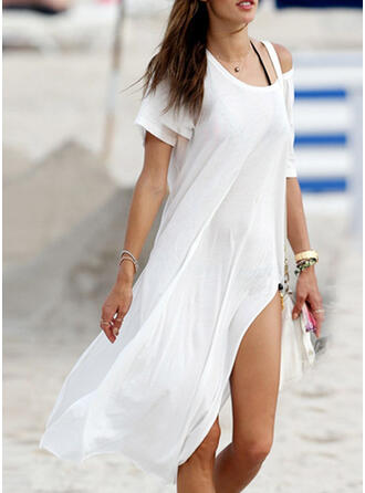 Solid Color Round Neck Sexy Boho Cover-ups Swimsuits