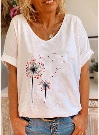 Drucken V-Ausschnitt Kurze Ärmel Freizeit T-shirts