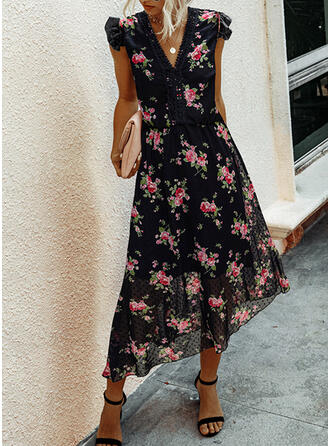 Lace/Print/Floral/PolkaDot Cap Sleeve A-line Casual/Vacation Midi Dresses